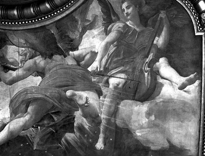 Décor du plafond du Grand Foyer : Anges musiciens (détail de la Mort de sainte Cécile)