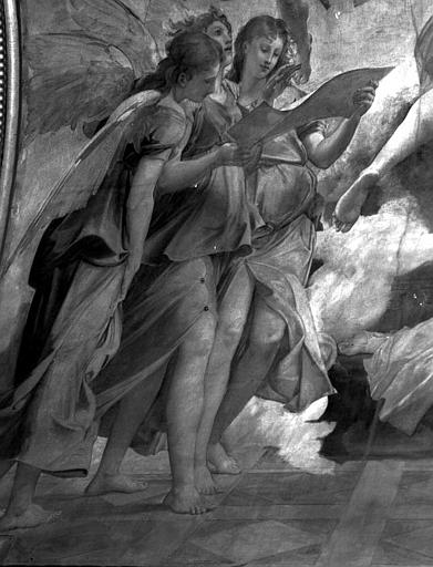 Décor du plafond du Grand Foyer : Trois anges chanteurs (détail de la Mort de sainte Cécile)