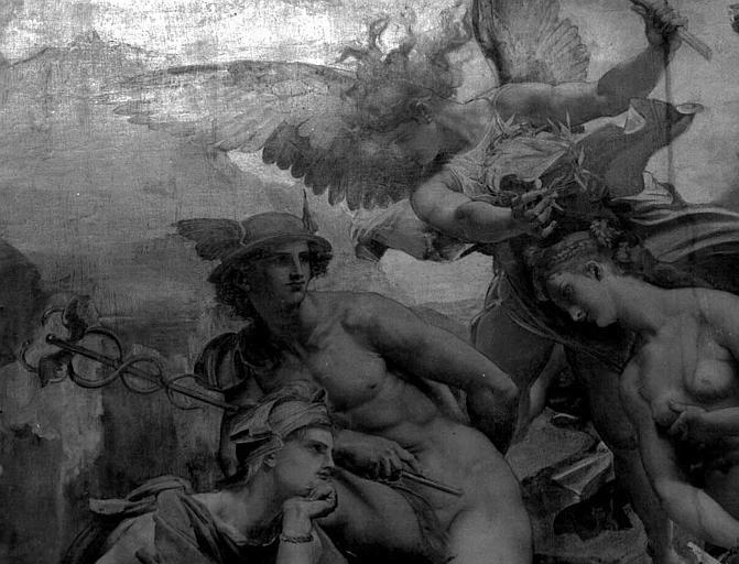 Décor du plafond du Grand Foyer : Pâris, Hermès et Aphrodite (détail du Jugement de Pâris)