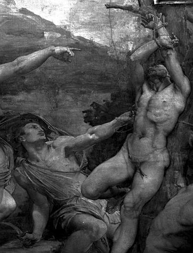 Décor du plafond du Grand Foyer : Marsyas et un bourreau (détail de Apollon ordonnant le supplice de Marsyas)