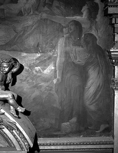 Décor du plafond du salon ouest du Grand Foyer : Trois femmes (détail de Orphée au tombeau d'Eurydice)