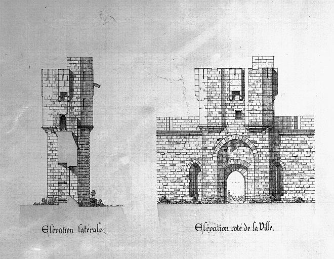Détail de l'élévation latérale et de l'élévation du côté de la ville