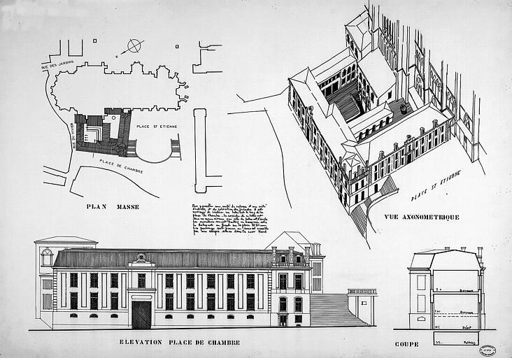 Plan d'intégration urbaine : Plan massé, vue axonométrique, élévation de la façade sur la place de Chambre, coupe transversale