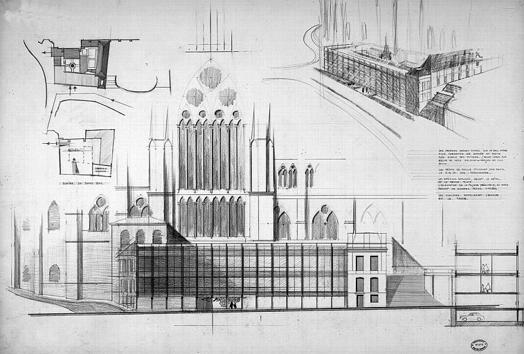 Plan d'intégration urbaine : Plan, coupe, vue perspective