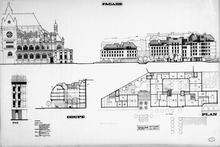 Plan d'intégration urbaine : Plan, coupe et élévations d'immeubles dans le quartier Saint-Eustache