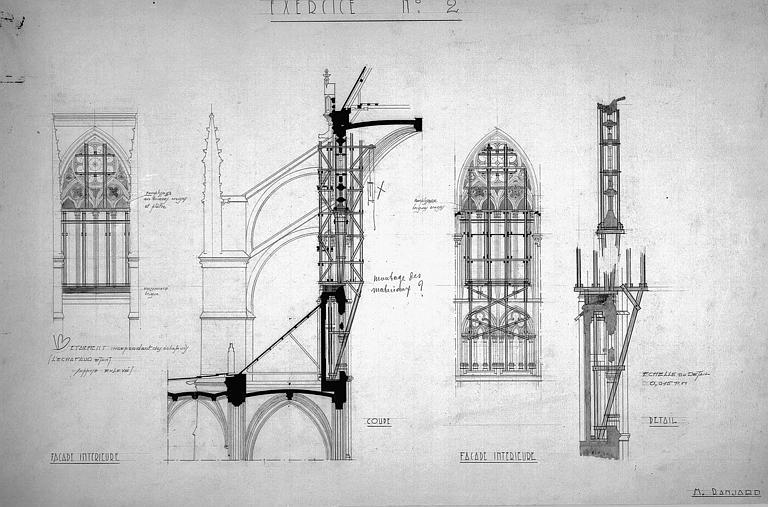 Etaiement d'une verrière de la nef : Coupes et élévations