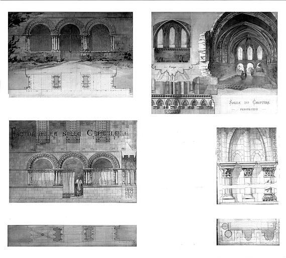 Plans et élévations de la salle capitulaire