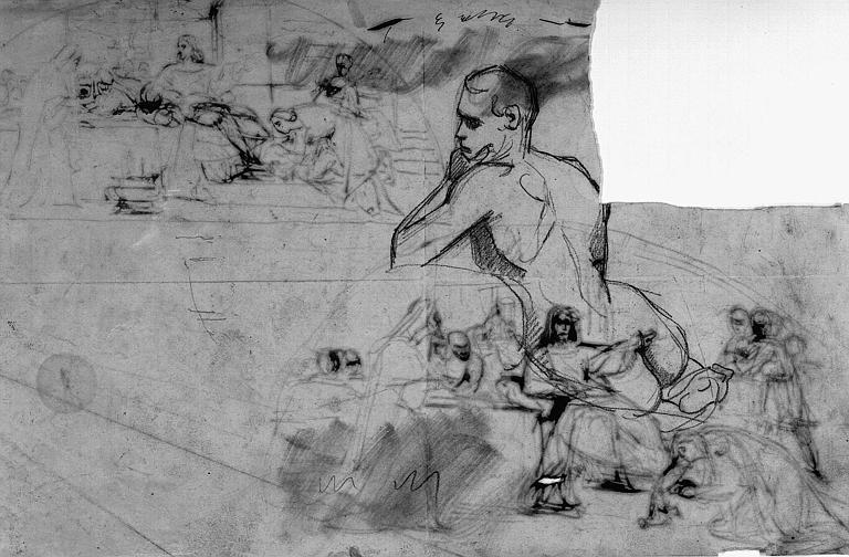 Dessin à la mine de plomb : Académie d'homme (verso)