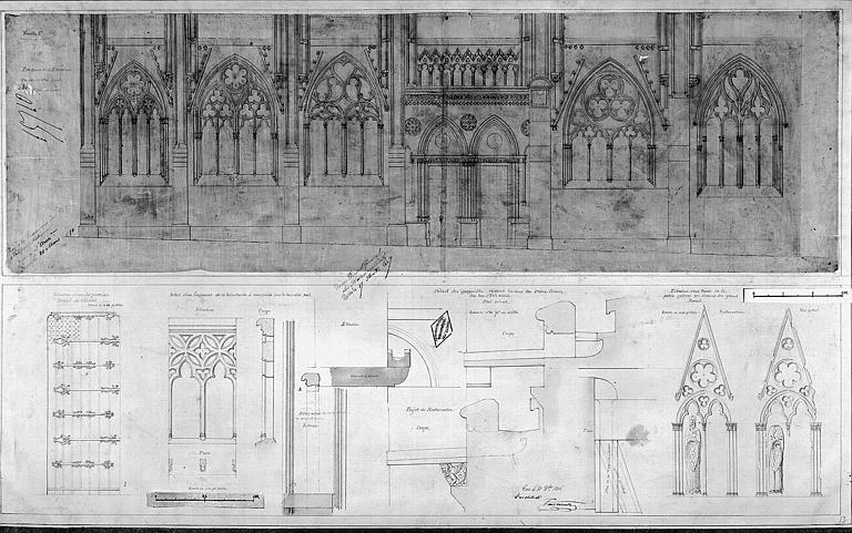 Elévation partielle du bas-côté sud (état actuel) et détails divers