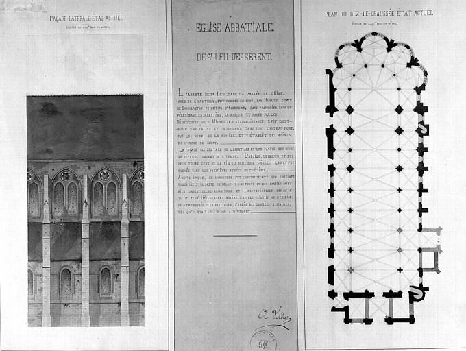 Plan du rez-de-chaussée et élévation de deux travées de la façade latérale (état actuel)