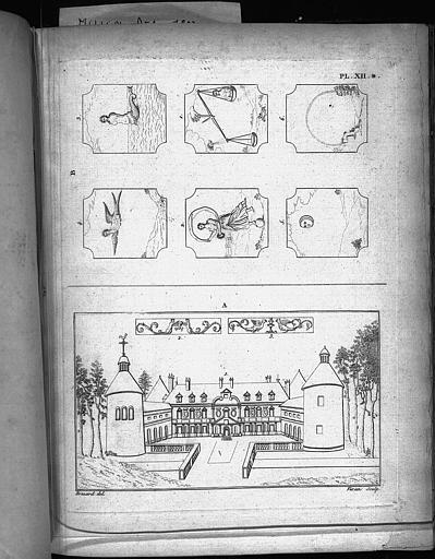 Gravures : Vue du château avec frises et devises
