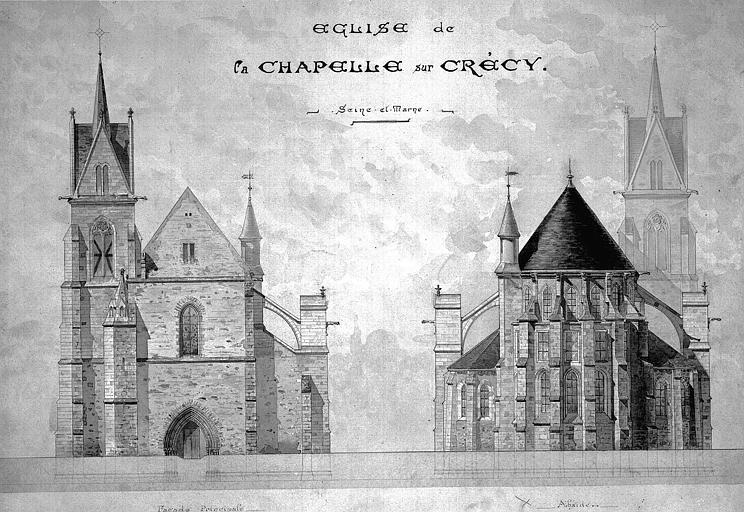 Elévations de la façade principale et de l'abside