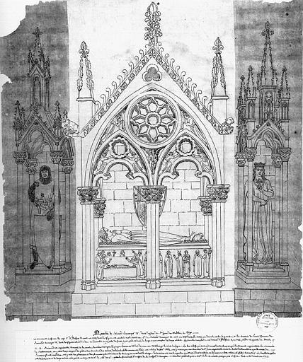 Dessin à la plume : Mausolée de Raymond Béranger IV, détruit en 1793