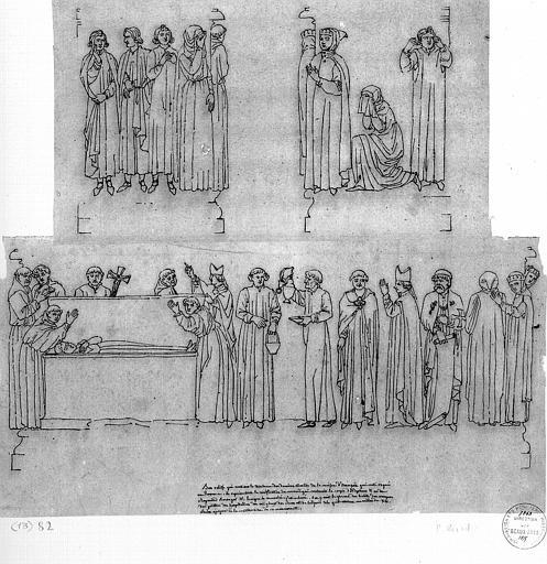 Dessin à la plume : Bas-reliefs se trouvant sur le tombeau des derniers Comtes de la Maison d'Aragon