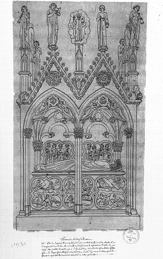 Dessin à la plume : Tombeau de Béatrix de Provence, 3e fille de Raymond Béranger