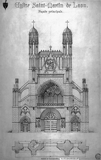 Plan et élévation de la façade principale