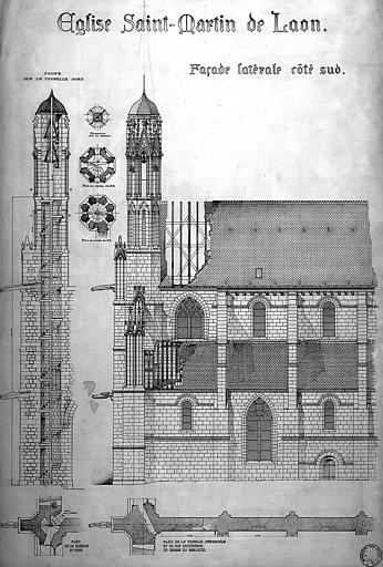Plan et élévation de la façade latérale du côté sud, plan et coupe de la tourelle nord