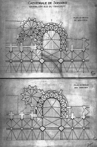 Plans du croisillon sud du transept, au niveau des bas-côtés et au niveau des tribunes