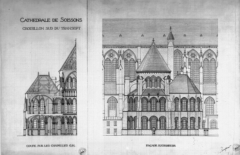 Coupe sur les chapelles et élévation de la façade extérieure