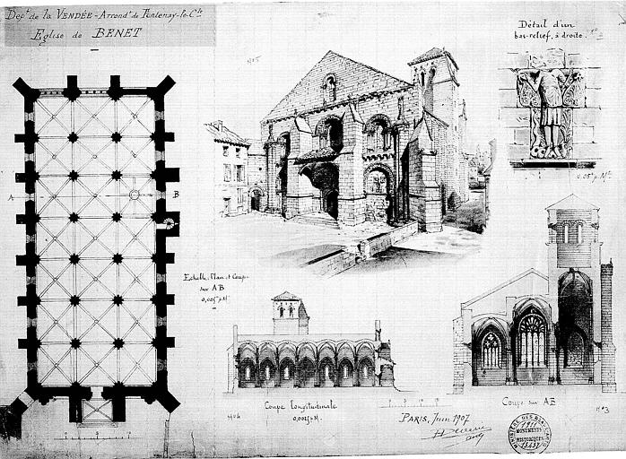 Plan, coupes transversale et longitudinale, vue perspective et détail d'un bas-relief