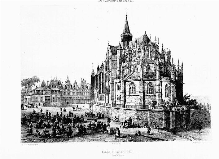 Lithographie : Vue de l'église et du château