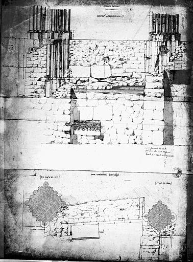 Situation des piliers après les fouilles exécutées en 1859 pour la construction du tombeau de la dynastie impériale : Coupe et plan