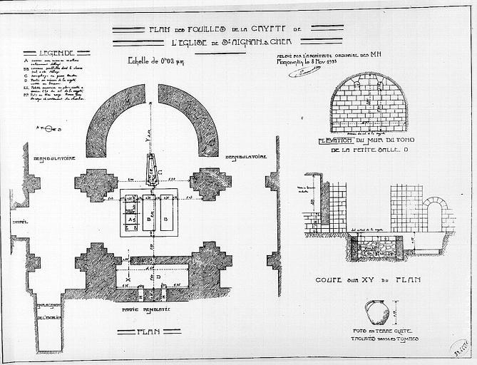 Plan des fouilles de la crypte