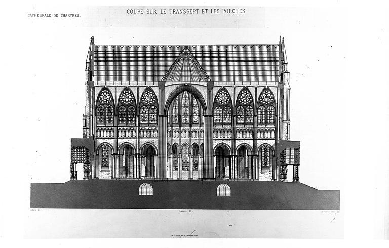 Gravure : Coupe sur le transept et les porches