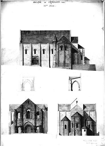 Elévation des façades et coupe du porche sud