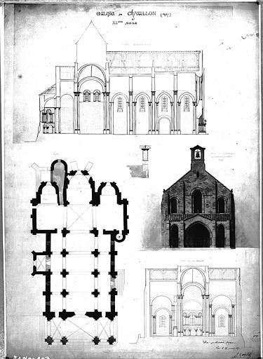 Elévation de la façade ouest, coupes transversale et longitudinale, plan général