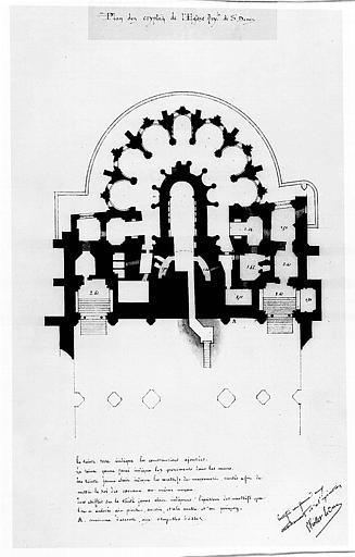 Plan des cryptes de l'église royale de Saint-Denis
