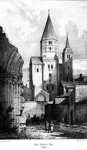 Lithographie : Vue d'ensemble du clocher
