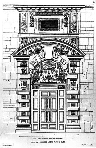 Gravure : Elévation d'une porte extérieure