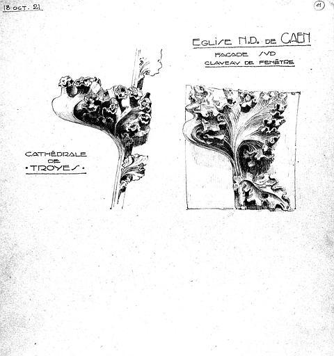 Dessin comparatif des claveaux de fenêtre de la cathédrale de Troyes et de l'église Notre-Dame de Caen