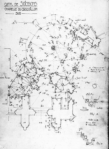 Plan de la chapelle du croisillon sud avec relevé des mesures
