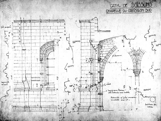 Elévation de la chapelle du croisillon sud avec relevé des mesures