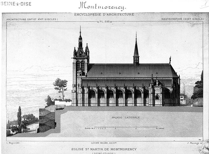 Gravure : Elévation de la façade latérale sud