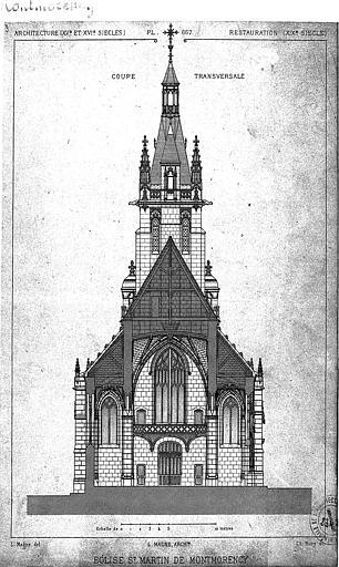 Gravure : Coupe transversale sur la nef vers l'ouest
