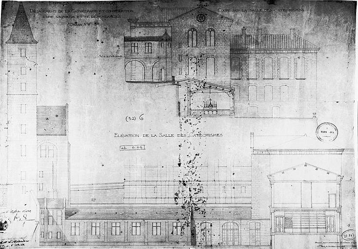 Dégagement de la cathédrale et construction d'une sacristie et de dépendances : Coupes et élévations