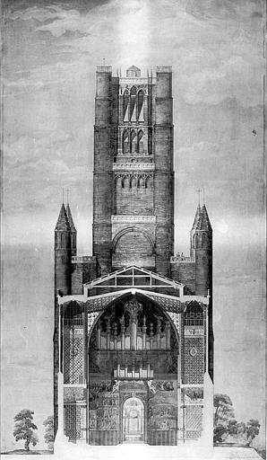 Elévation de la tour ouest et coupe de la partie inférieure (plume et aquarelle)