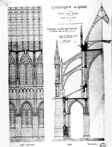 Projet de charpente en ciment armé à établir sur la nef : Détail d'une travée