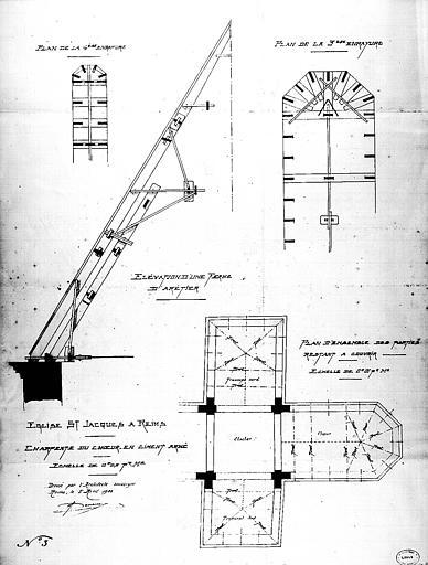 Projet de charpente du choeur en ciment armé : Plan et coupe