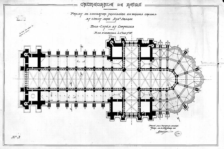 Projet de couverture provisoire en briques creuses et ciment armé, système Aragon, des bas-côtés et des chapelles : Plan d'ensemble
