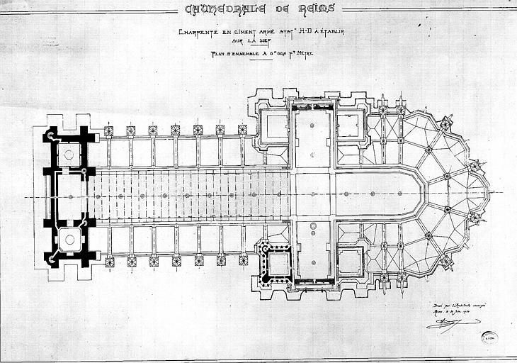 Charpente en ciment armé, système H-D, à établir sur la nef : Plan d'ensemble
