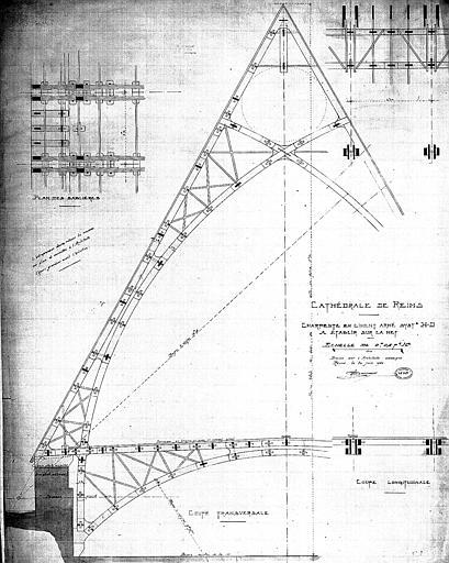 Charpente en ciment armé, système H-D, à établir sur la nef : Coupes longitudinale et transversale et plan des sablières