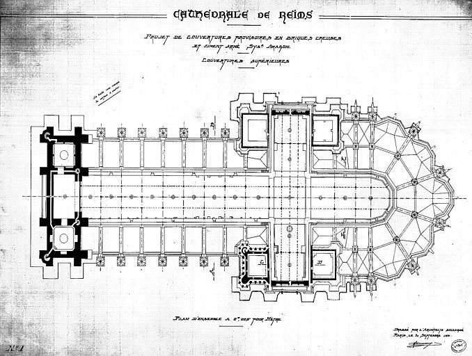 Projet de couvertures provisoires en briques creuses et ciment armé système Aragon : Plan d'ensemble des couvertures supérieures