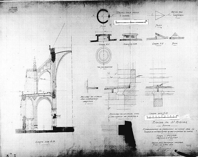 Etablissement de terrasses en ciment armé au-dessus du déambulatoire et des chapelles du choeur : Plan, coupes et détails