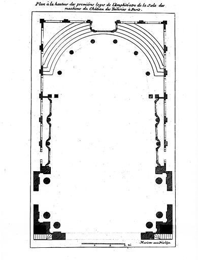 Salle des machines : Plan à la hauteur des 1e loges de l'amphithéâtre