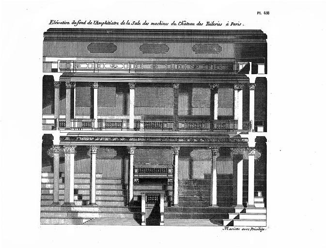 Salle des machines : Elévation du fond de l'amphithéâtre