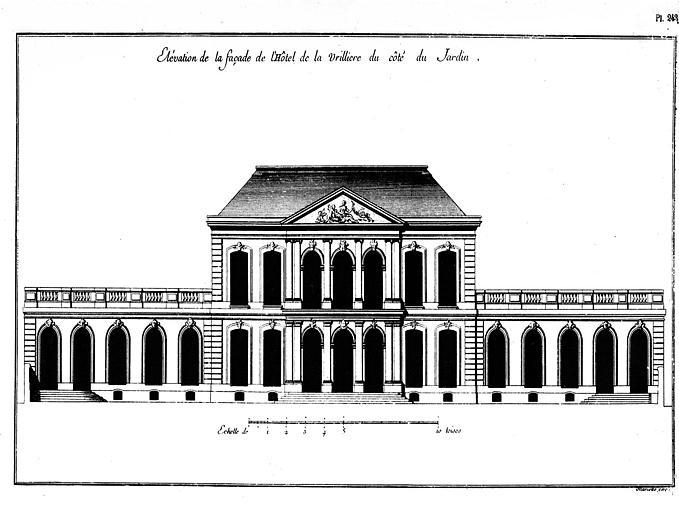 Gravure : Elévation de la façade du côté jardin